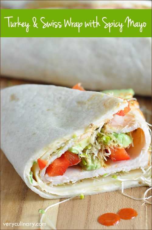 Flour tortillas are coated with an incredible spicy-sweet sauce, then topped with the turkey slices, Swiss cheese, bell pepper, avocado, and alfalfa sprouts. Fresh and light! AD DontCallMeBasic @FosterFarms