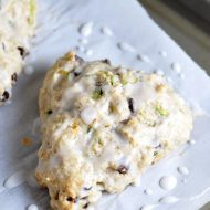 Tender flaky scones with shredded zucchini and mini chocolate chips throughout!