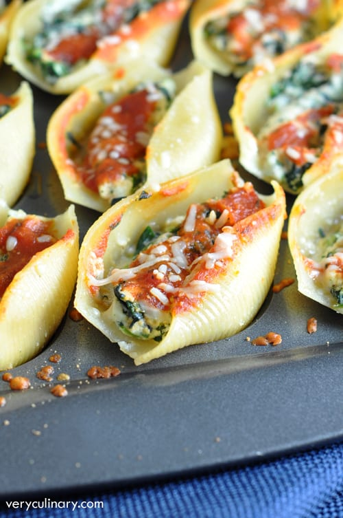 Your favorite lasagna filling stuffed into jumbo pasta shells and served as an awesome appetizer!