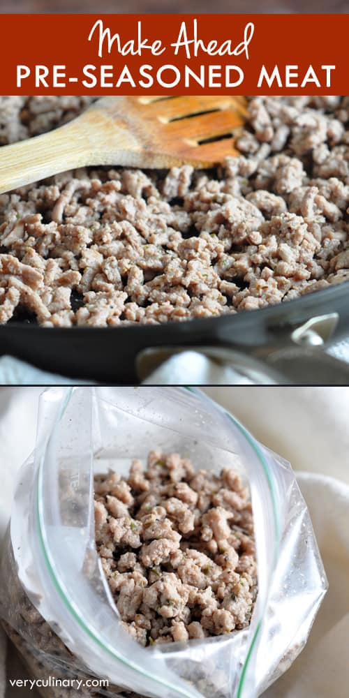 Season and cook ground beef, turkey, or pork ahead of time, then freeze in portions for up to 3 months. Defrost only what you need to make meals easier and quicker!