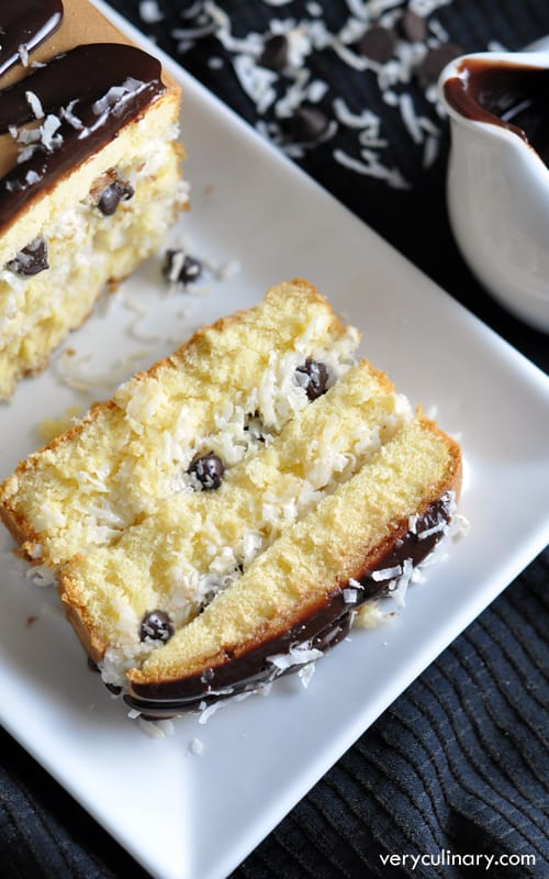A creamy coconut and chocolate chip filling is spread in between layers of pound cake, then drizzled with a rich chocolate ganache. All in only 15 minutes!