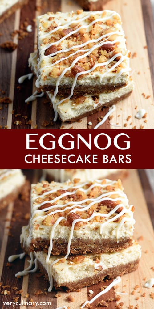 Luscious cheesecake bars with an eggnog flair, drizzled with melted white chocolate!