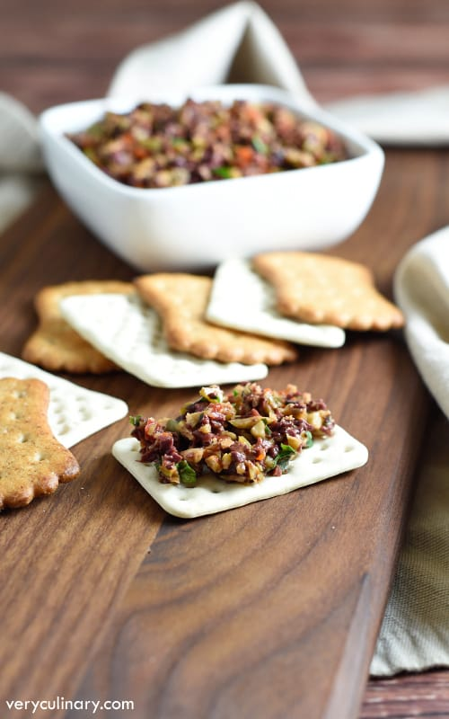 This appetizer features the classic ingredients of Provence, France - olives, capers, and anchovies. It's perfect on bread or crackers, and so easy to make!