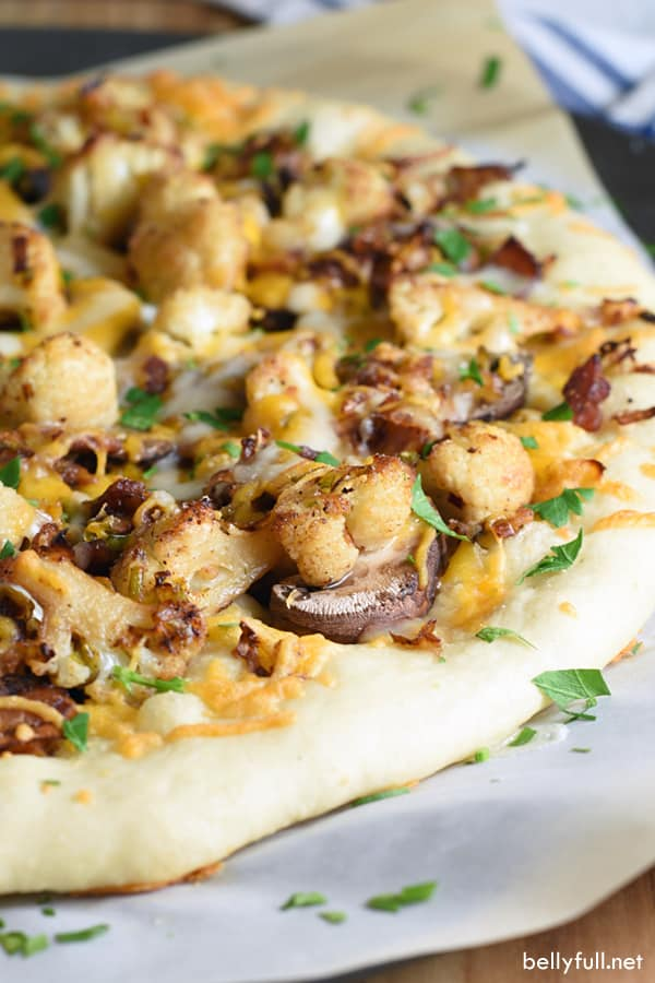 Ditch the pepperoni and try something different on your pizza tonight. Cauliflower, leeks, and mushrooms are a surprisingly fantastic combination!