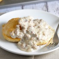 Stick to your ribs, pure comfort buttermilk biscuits and sausage gravy!