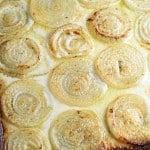 overhead of roasted creamed onions