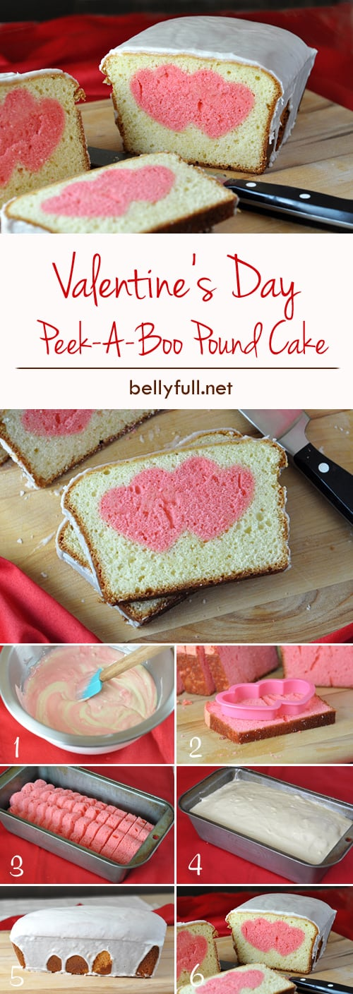 "Give your friends and family a fun and loving surprise in every slice of this Peek A Boo Heart pound cake! Everyone will be asking, ""How'd you do that?"""