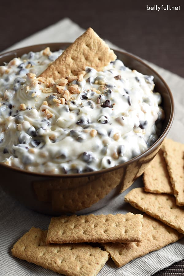 Cookie Dough Dip Recipe | Belly Full - This cookie dough dip is best cold dessert appetizer, made with chocolate chips, toffee bits, and no egg. Whip up a batch in just 10 minutes!