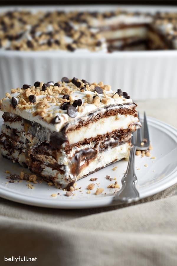 slice of Ice Cream Bar Cake on white plate