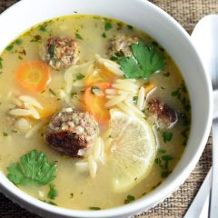 This soup is hearty from the pasta and meatballs, but with a light and lemony broth. Delicious on a cold and dreary day!