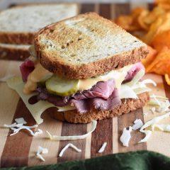 The classic Reuben sandwich gets a little make over with roast beef instead of corned beef, and coleslaw instead of sauerkraut.
