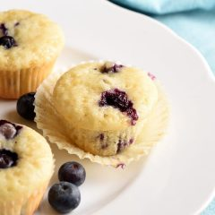 These muffins are loaded with blueberries and lemon. Their miniature size makes them perfect as a snack, and with only one bowl, clean up is a breeze!