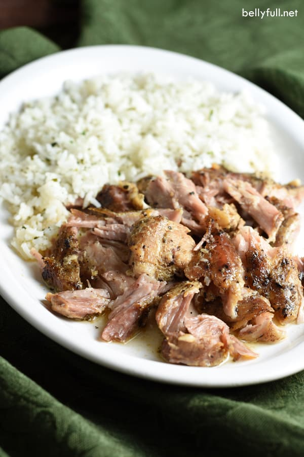 slow cooker cuban pork with rice on white plate