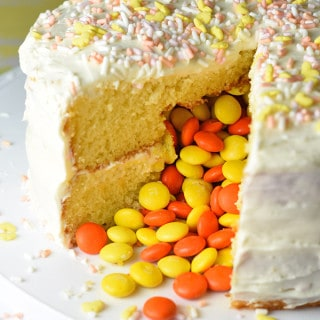 No matter if you call it a Piñata cake, Reveal cake, or Surprise cake, I call it fun! A colorful surprise tumbles out when you cut into it, resulting in a sweet treat and happy guests!