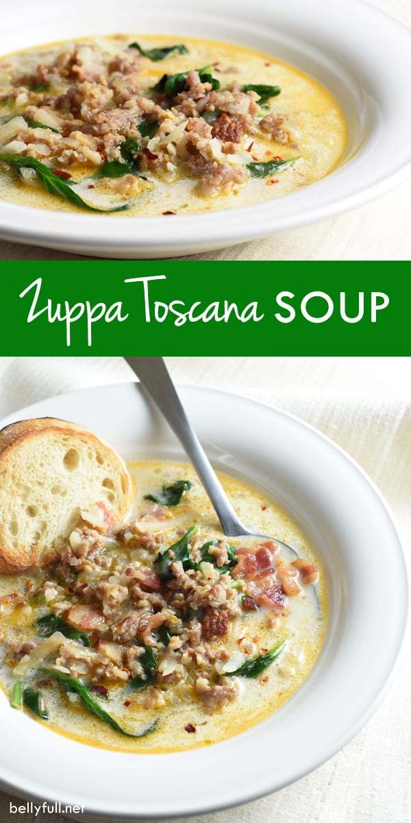 Loaded with sausage, bacon, potatoes, spinach, and cream, this classic Italian Zuppa Toscana soup and Olive Garden knock-off is pure comfort!