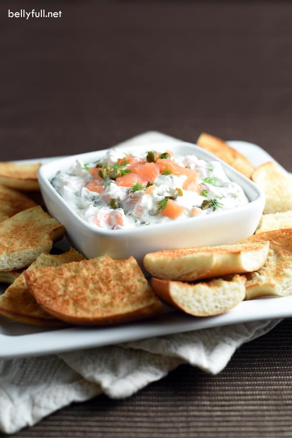 Cream cheese and lox on a bagel turned into a dip