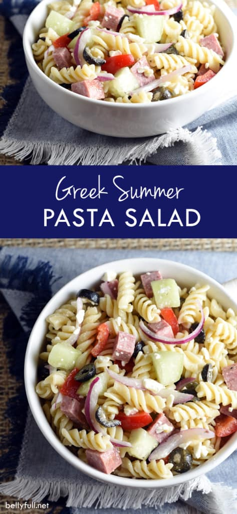Crunchy vegetables, summer sausage, and salty feta are combined with cooked pasta, then drizzled with Greek dressing for this easy and delicious potluck summer salad!