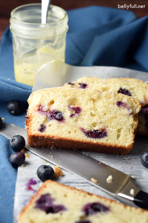 Blueberry Lemon Quick Bread sliced