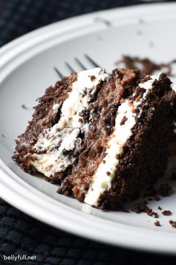 close up of chocolate icebox cake piece