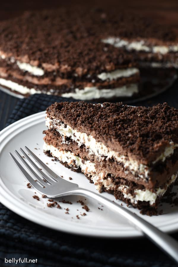 This No-Bake Chocolate Icebox Cake is the ultimate treat with mascarpone whipped cream and Nutella whipped cream, layered with crushed chocolate graham crackers!