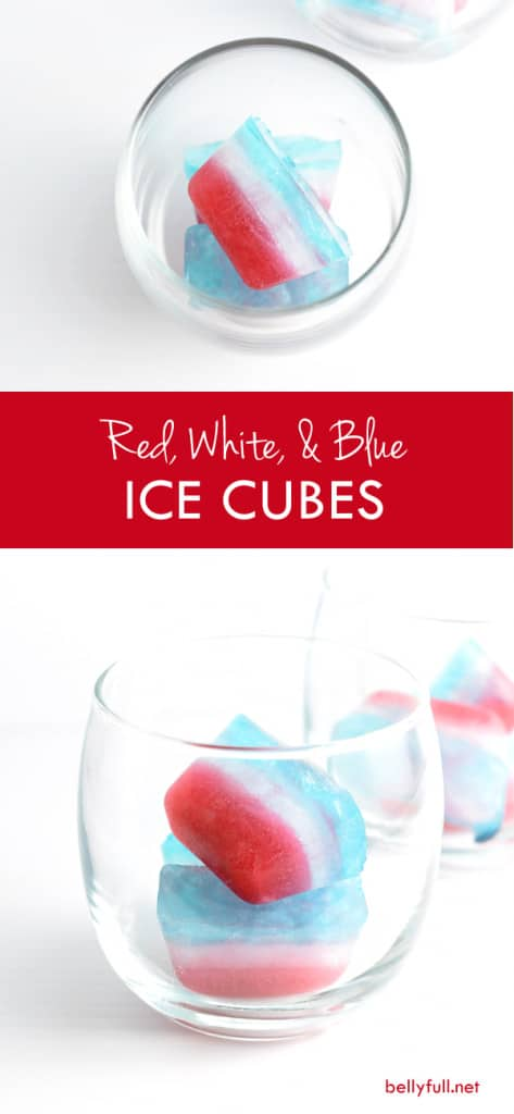 These super easy Red, White, and Blue Ice Cubes are a fun way to dress up boring water at your next backyard cookout. Perfect for Memorial Day or Fourth of July!