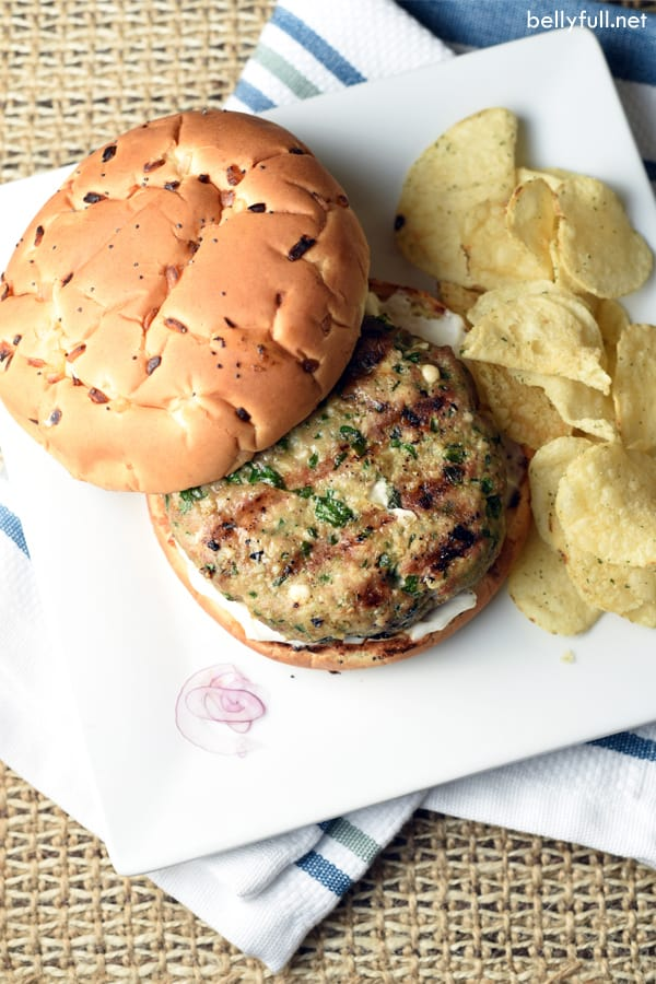 top down photo of turkey burgers on bun with potato chips
