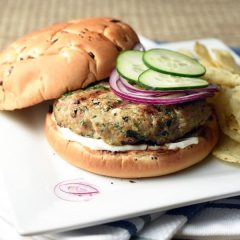 These turkey burgers are filled with delicious spinach and feta, which helps them stay moist and lends so much flavor!