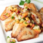 Pan Seared Tilapia filets are topped with a fresh, bright, and simple peach and cucumber salsa. Delicious 30 minute meal!