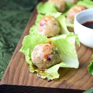 Asian Turkey Meatballs with a sweet and spicy glaze, served with noodles or in lettuce cups!
