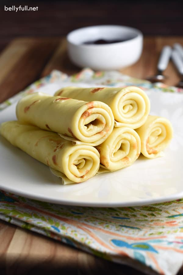 Homemade crepes on a white plate