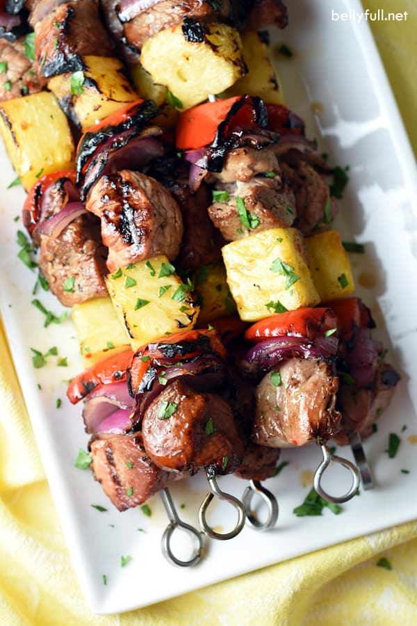 Marinated Teriyaki pork tenderloin, fresh pineapple, bell pepper, and sweet red onion are the perfect summer combination. Throw these kabobs on the grill and you have yourself an easy and quick weeknight meal.