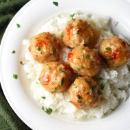 Shrimp and Pork come together in one fantastic Thai inspired meatball, coated in a delicious sweet chili sauce!