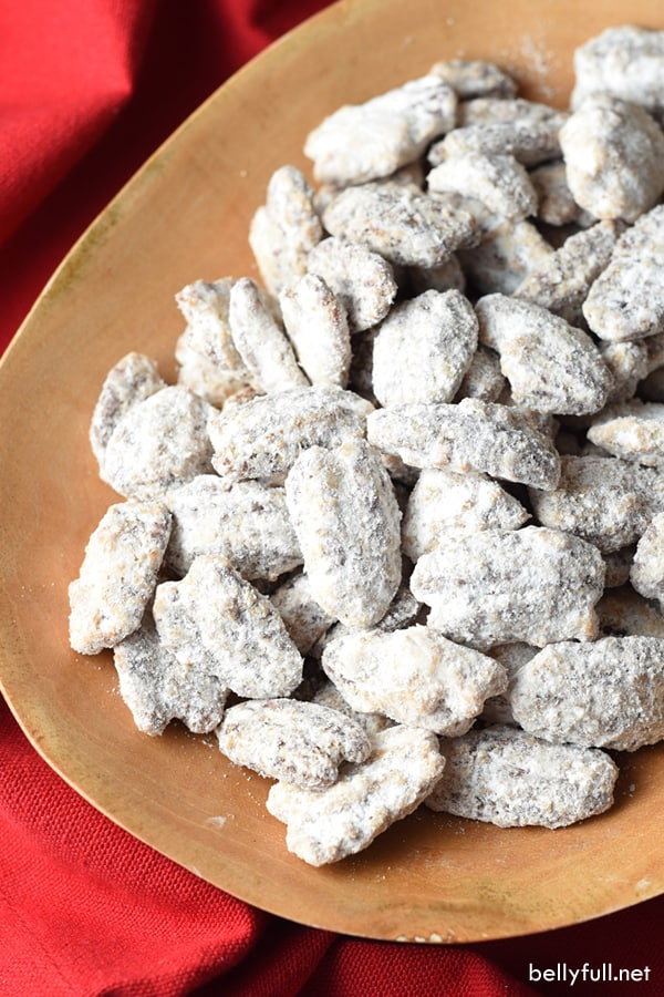 Unlike the most Candied Pecans which are usually hard coated, these are light and covered with powdered sugar. They're more addicting than potato chips, and make a great gift!