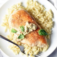 Pan-seared chicken sits on a bed of orzo pasta, topped with a dollop of homemade basil-tomato aioli. Simple, quick, tasty, and perfect for busy weeknights!