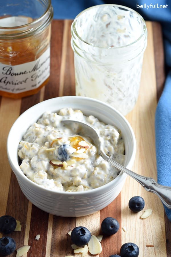 overnight oatmeal in little white serving dish