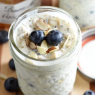 This overnight oatmeal comes together in just 5 minutes and is easily customizable using your favorite fruit and jam. Requires no cooking, and since it's prepared in a single serving jar with lid, it's perfect for on the go, too!