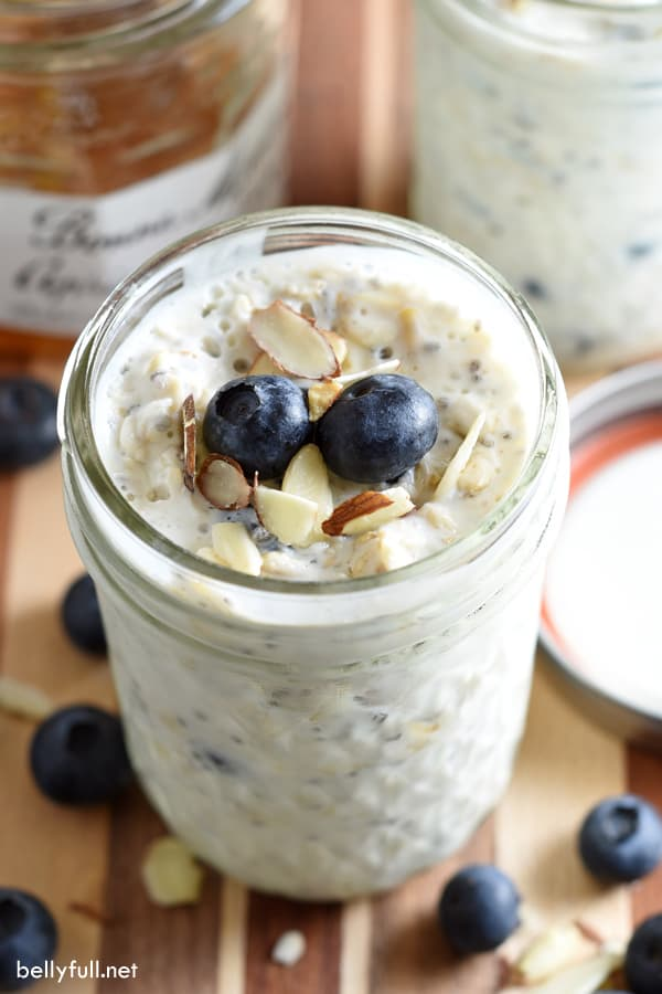 Overnight Oatmeal in canning jar with fresh blueberries on top