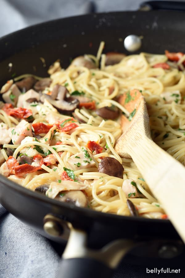 This Creamy Tuscan Chicken Pasta is super easy and loaded with flavor. Plus it's all cooked in one pot, making clean up a breeze. Great 30 minute meal!