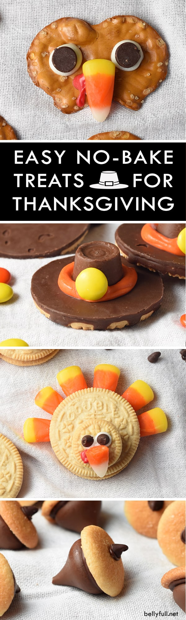 Pilgrim Cookie Hats, Chocolate Acorns, Pretzel Turkeys, and Oreo Turkeys are the cutest Thanksgiving treats! No oven required and they take only minutes to make!