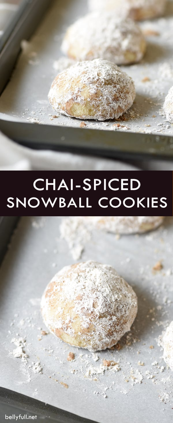 picture of a snowball cookie dredged in chai spices on a baking sheet