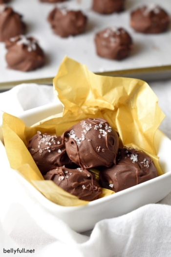 Rich and creamy homemade chocolate truffles made with almond butter and a hint of sea salt for a perfect balance of flavors!