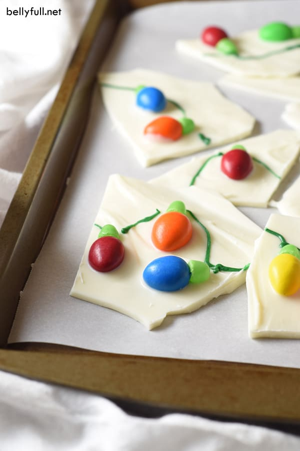 white chocolate bark decorated with candy Christmas tree lights