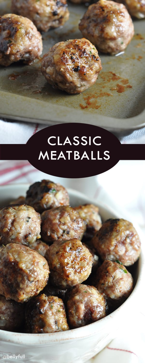 A classic, foolproof meatball recipe that will be your go-to. Makes 80, so you can freeze a bunch and have them on hand for later!