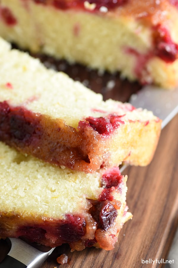 slice of upside down cranberry quick bread