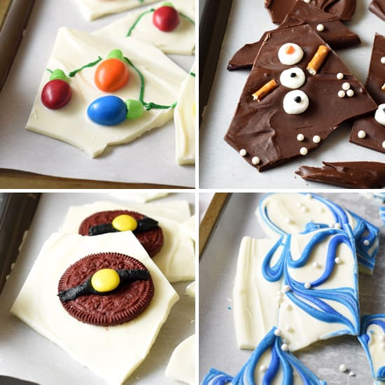 Christmas Tree Lights, Snowman, Santa Belt, and Hanukkah themed chocolate bark for the holidays! Cute, fun, easy, and no oven required!