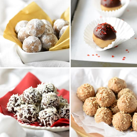 Four Easy Truffles - Gingerbread, Sparkling Buckeyes, Chocolate-Coconut, and Almond-Praline. There's no cooking involved and barely any prep time. Plus they can be made up to a week ahead, which is perfect for holiday planning!