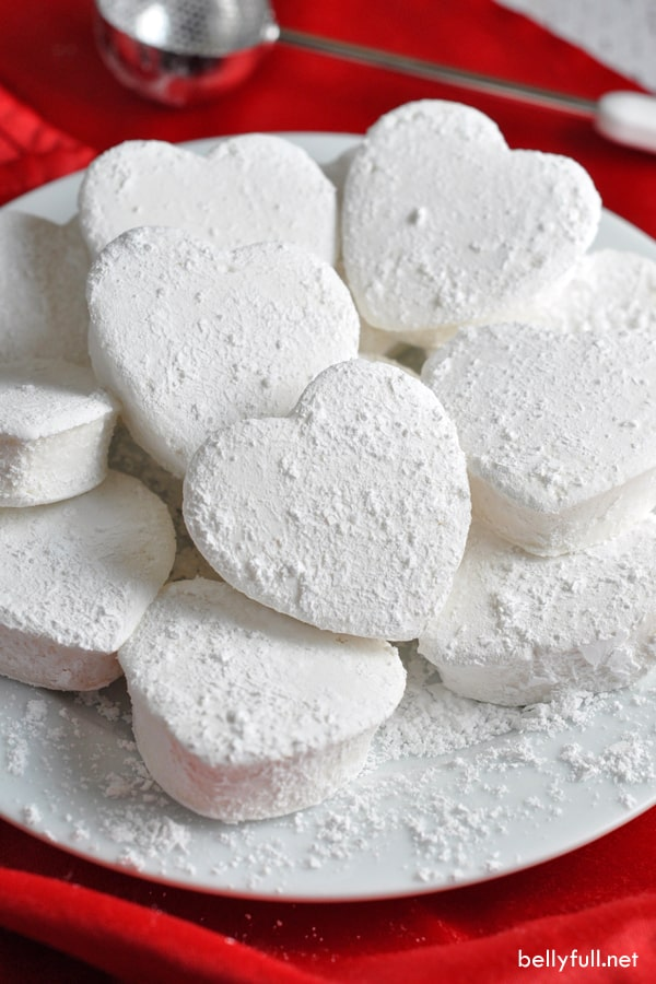 picture of heart shaped homemade marshmallows on a white plate
