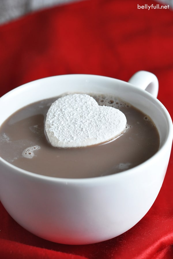 heart shaped homemade marshmallow in hot cocoa