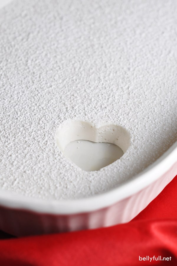 pan of homemade marshmallows with cut out heart shape