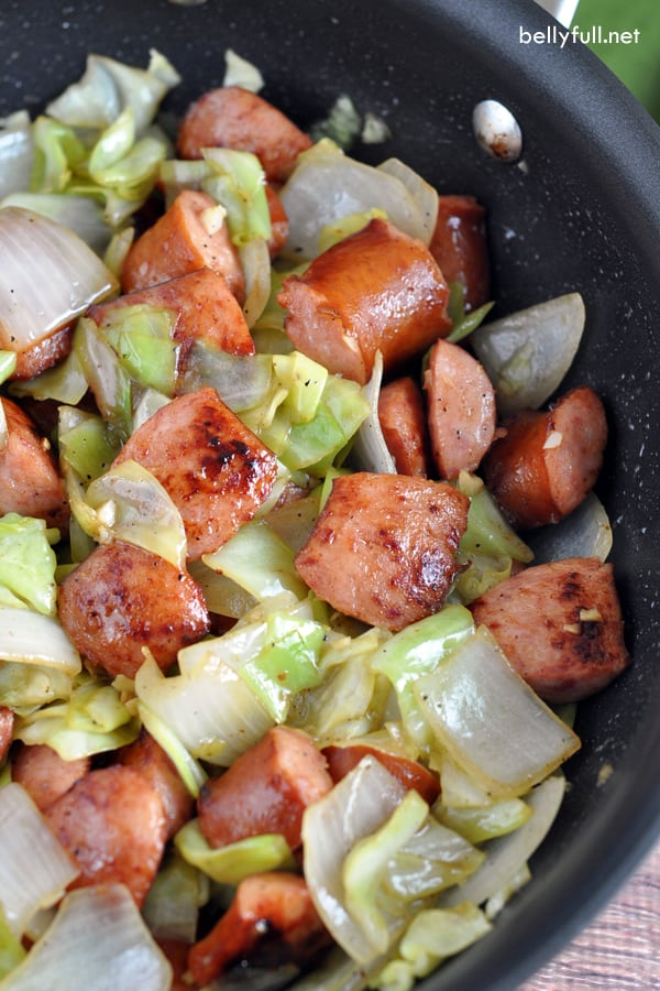 Kielbasa and Cabbage Skillet - This fast one-pan skillet dish is filling, full of flavor, and so easy for any weeknight dinner!